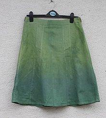 Sukne - Zelená ľanová midi sukňa obvod pása 78 cm - 13295440_
