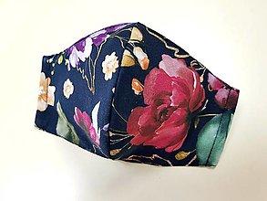 Rúška - Dizajnové bavlnené rúško - Spring flowers (Čierne - červené ruže) - 13297910_