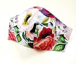 Rúška - Dizajnové bavlnené rúško - Spring flowers (Rozkvitnutá záhrada) - 13297922_