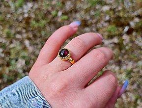 Prstene - Granát pozlátený prsteň Ag 925 - 13297148_