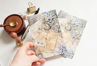 """Papier - Pohľadnica """"spomienky s hortenziou"""" - 13298444_"""