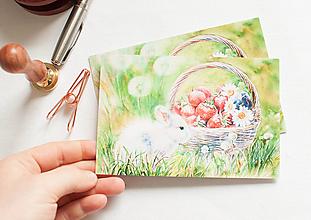 """Papier - Pohľadnica """"Zajo a jahody"""" - 13298737_"""