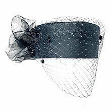 Čiapky - Hodvábny smútočný klobúčik so sieťkou - 13297925_