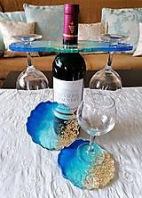 Nezaradené - Držiak na víno + 2 podšálky - 13303241_