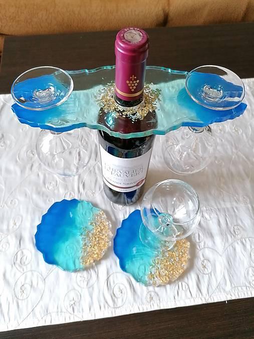 Držiak na víno + 2 podšálky