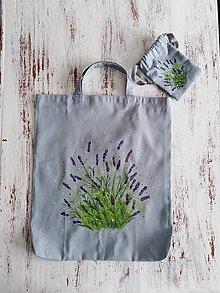 Nákupné tašky - Levanduľa - nákupná taška s taštičkou - 13299356_