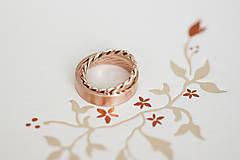 Prstene - Zlaté filigránové obrúčky (ružové) - Splynutie - 13299655_