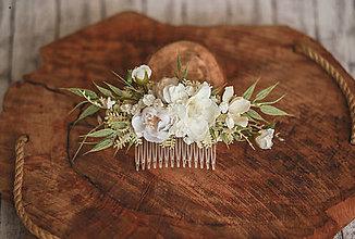 Ozdoby do vlasov - Kvetinový hrebienok biela romantika - 13299066_