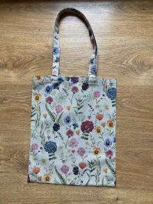 Nákupné tašky - Taška cez plece  rozkvitnutá lúka na režnej - 13302323_