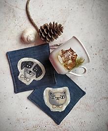 Úžitkový textil - Ako si psíček a mačička vychutnávali rannú kávu - 13299445_