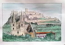Obrazy - Spišská Kapitula, kolorovaný print - 13302579_