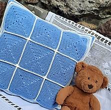 Úžitkový textil - Obojstranná háčkovaná obliečka na vankúš _ Modrá neha - 13301081_