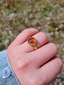 Prstene - Baltický Jantár pozlátený prsteň Ag 925 - 13300395_