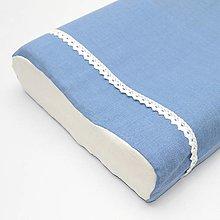 Úžitkový textil - Modrá ľanová - obliečka na anatomický vankúš - 13299930_