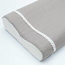 Úžitkový textil - sivá ľanová - obliečka na anatomický vankúš - 13300507_