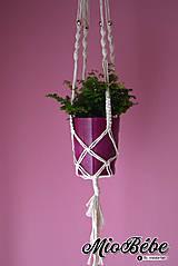 Dekorácie - Makramé kvetináč - zlata gulička - 13303219_