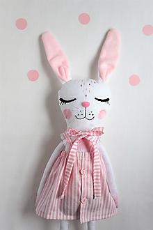 Hračky - -Zajačica Sofi/hračka/veľká- (Pásikavé šaty s mašlou) - 13299728_