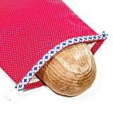 Iné tašky - Vrecko na chleba s membránou - Červené bodky s modrým lemom - 13300313_