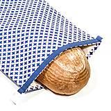 Úžitkový textil - Vrecko na chleba s membránou - Modrá geometria - 13300334_