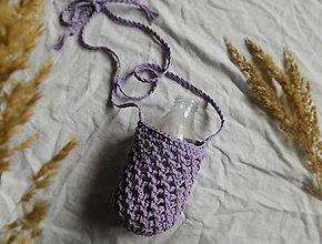 Iné tašky - Háčkovaná taška na fľašu levanduľová - 13300180_