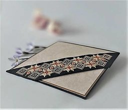 Papiernictvo - Smútočná/kondolenčná pohľadnica IX - vyšívaná - 13300544_