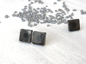 Náušnice - Štvorce mini čierne - 13306481_