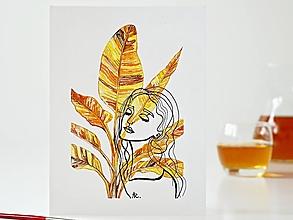 Obrazy - Banana plant a Dáma 6, akvarel, 18 x 24 cm - 13304524_