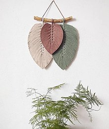 Dekorácie - Makramé závesná dekorácia FALL (béžová/hnedá/zelená) - 13304913_