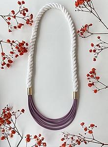 Náhrdelníky - Lanový náhrdelník - fialková a režná - 13306804_