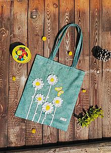 Veľké tašky - Bavlnená taška s háčkovanou aplikáciou - margarétky - 13305020_