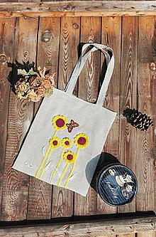 Nákupné tašky - Ľanová taška s háčkovanou aplikáciou - slnečnice - 13305080_