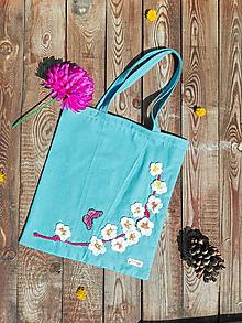 Nákupné tašky - Bavlnená taška s háčkovanou aplikáciou - sakura - 13305121_