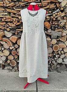 Šaty - Ľanové šaty - 3D kvety - 13305518_