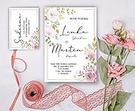 Papiernictvo - Svadobné oznámenie 101 ružové kvietky - 13309815_