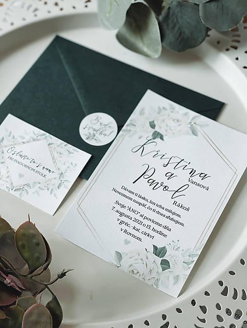 Vintage Svadobné oznámenie 100 ruže biele