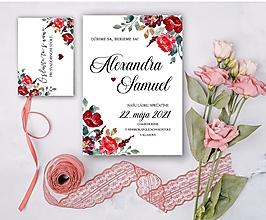 Papiernictvo - Svadobné oznámenie 93 burgundy - 13309650_