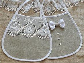 Iné doplnky - Svadobné podbradníky,bavlna -ľan - 13308589_