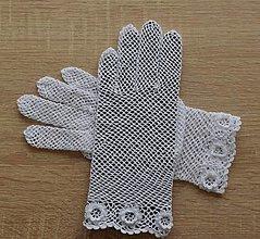 Rukavice - Biele rukavičky s kvetinovým lemom - 13308099_