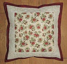 Úžitkový textil - Obliečka na vankúšik s ružičkami - 13309323_