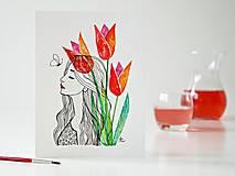 Obrazy - Tulipány a Deva 7, akvarel, 18 x 24 cm - 13308033_