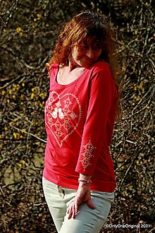 Tričká - Dámske tričko maľované VTÁČATKÁ - 13307820_