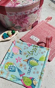Úžitkový textil - Štebotavé vtáčiky k rannej káve, podložka pod hrnček - 13307749_