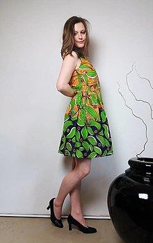 Šaty - AFRICKÉ KVĚTY - MODROBÉŽOVÉ - 13309447_