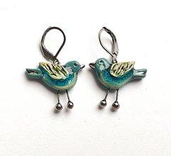 Náušnice - keramické náušnice - Vtáčiky - 13309079_