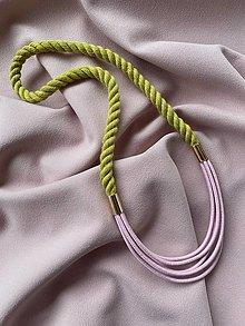 Náhrdelníky - Lanový náhrdelník - žlutá a růžová - 13306843_