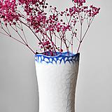 Dekorácie - Flow - porcelánová váza modrá - 13306848_
