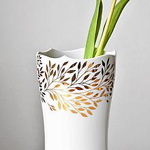 Dekorácie - Zlatá tráva - porcelánová váza se zlatem - 13306836_
