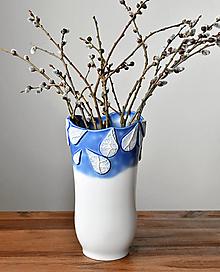 Dekorácie - Flow - porcelánová váza modrá - 13306858_