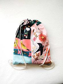 Detské tašky - Detský batoh - vrecúško, vtáčiky, 3-6r. - 13307079_