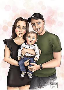 Grafika - Ilustrácia na mieru pre Vás ;) / Digitálna - Rodina 3 osoby - 13307447_